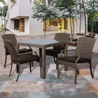 Rolland 5-Piece Grey Synthetic Wicker Patio Dining Set w/cushions