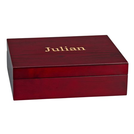 Personalized Monogrammed Julian Wood Jewelry Box W/ Green Lining (Personalized Boxes)