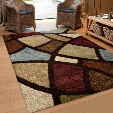 Orian Rugs Soft Shag Geometric Oval Day Multi Colored Area
