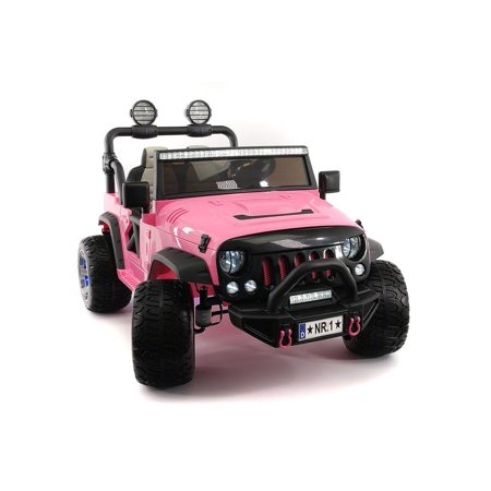 CarZ4KidS 12 Volt Explorer Truck Battery Powered Led Wheels 2 Seater Children Ride On Toy Car For Kids Leather Seat MP3 Music Player with FM Radio Bluetooth R/C Parental Remote | PINK ()