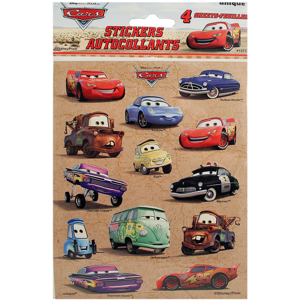 Disney Cars Sticker Sheets [4 per pack]