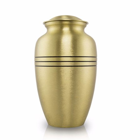 Bronze Memorial Urn For Adults - Large 190 Pounds - Bronze Gold Classic Tri Band