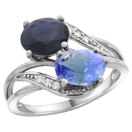 14K White Gold Diamond Natural Quality Blue Sapphire & Tanzanite 2-stone Mothers Ring Oval 8x6mm, size 8