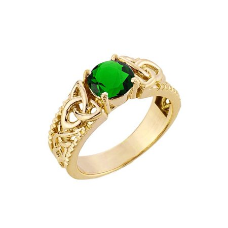 5691438147024 Yellow Gold Celtic Knot (LCE) Emerald Gemstone Ring (9.5, 14K)