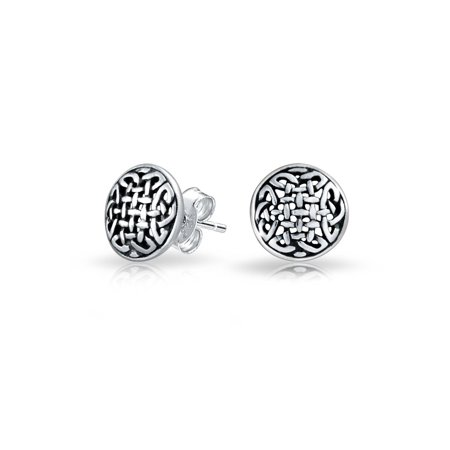 Small Medallion Shield Celtic Knot Work Viking Gebo Love Round Circle Disc Stud Earrings Oxidized 925 Sterling Silver