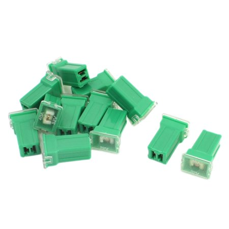 Unique Bargains 12Pcs 2 Terminals Female Plug Type Cartridge PAL Fuse Green DC 32V 40A