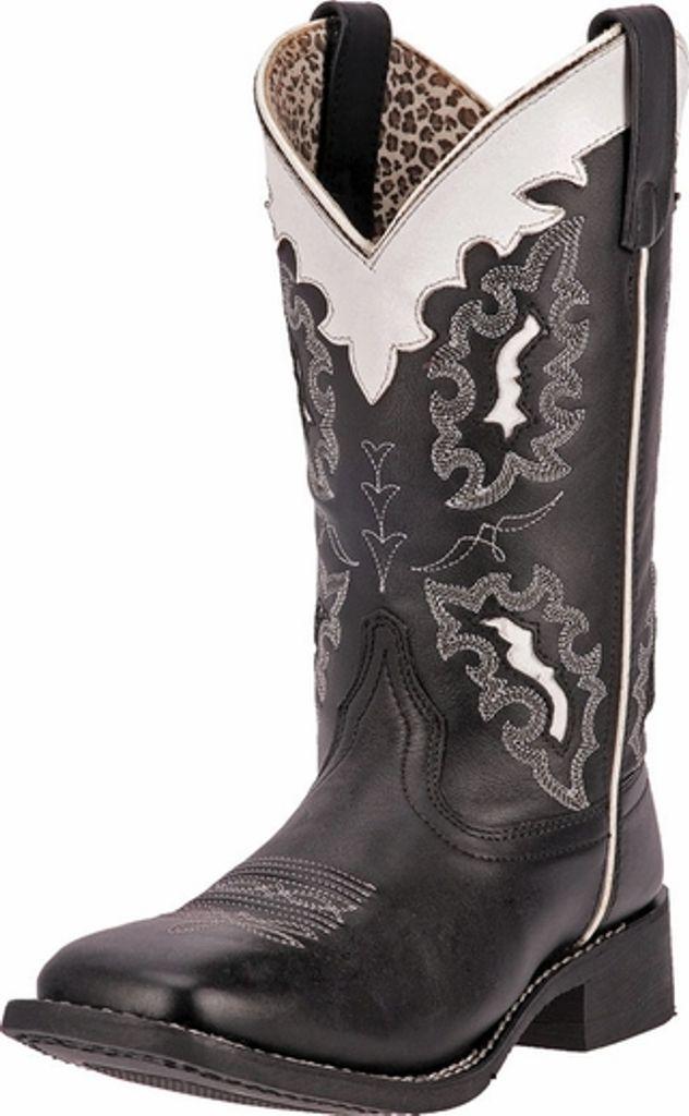 "Laredo Western Boot Women 11"" Collar Broad Square Black White 5670 by Laredo"