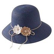 Beach Sun Hat Foldable Flower Straw Wide Brim Beach Hat Summer Hat for Women