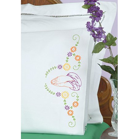 Jack Dempsey Stamped Pillowcases with White Perle Edge, Praying Hands, 2-Pack