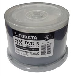 600 Ritek Ridata 8X DVD-R 4.7GB White Thermal Hub (Everest Compatible)