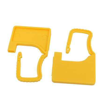 2pcs 60mm x 38mm x 3.6mm Plastic Seal Padlock Yellow for Luggage Trunk