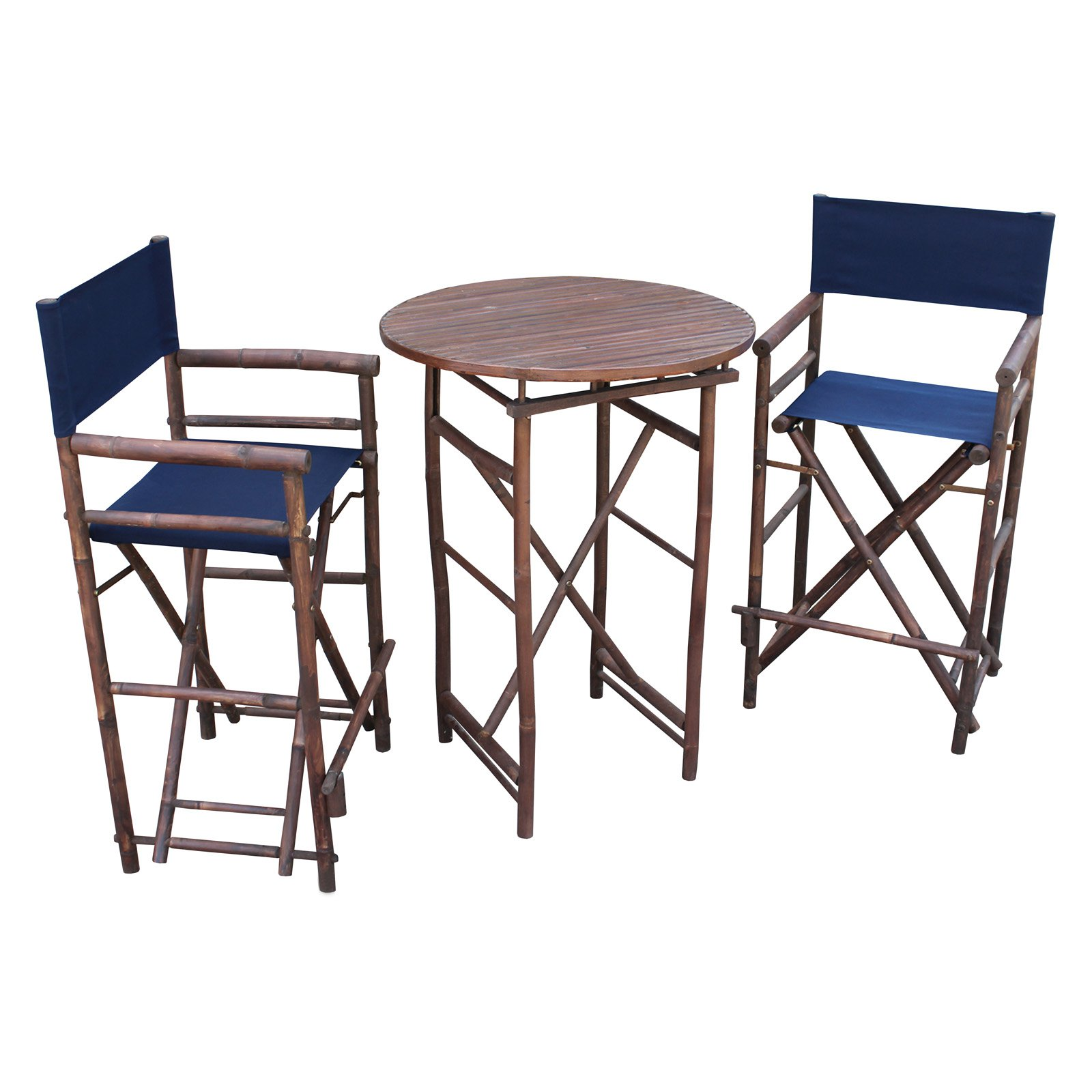 Zew Hand Crafted 3 Piece Round Folding Bamboo Bar Height Patio Dining Set