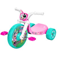 """Disney Jr Minnie Mouse 10"""" Fly Wheels Junior Cruiser Trike, Vibrant Character Graphics, Large 10 Inch Front Wheel, Includes 2 Push Buttons on Handle for Sounds, Age Grade 2-4 Years"""