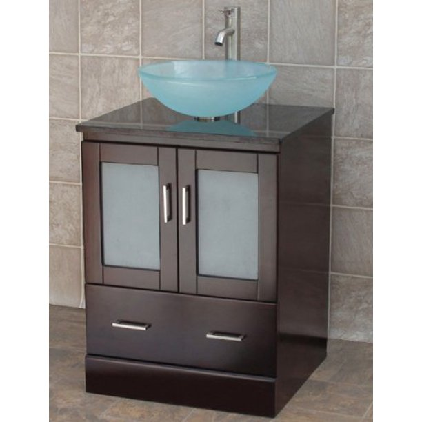 24 Bathroom Vanity Solid Wood Cabinet Black Granite Top Vessel Sink Mo2 Walmart Com Walmart Com
