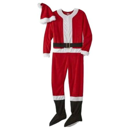 Mens Cow Onesie (Joe Boxer Mens Red Fleece Santa Claus Blanket Sleeper & Hat Set Footie)
