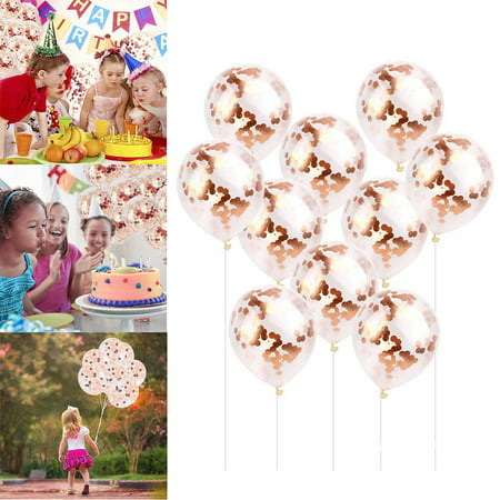 Rose Gold Confetti Balloons 12 Inch Clear Latex Balloon Wedding 1st Birthday Xmas Party Baby Shower Hen Decor Kids Fun Toys ()