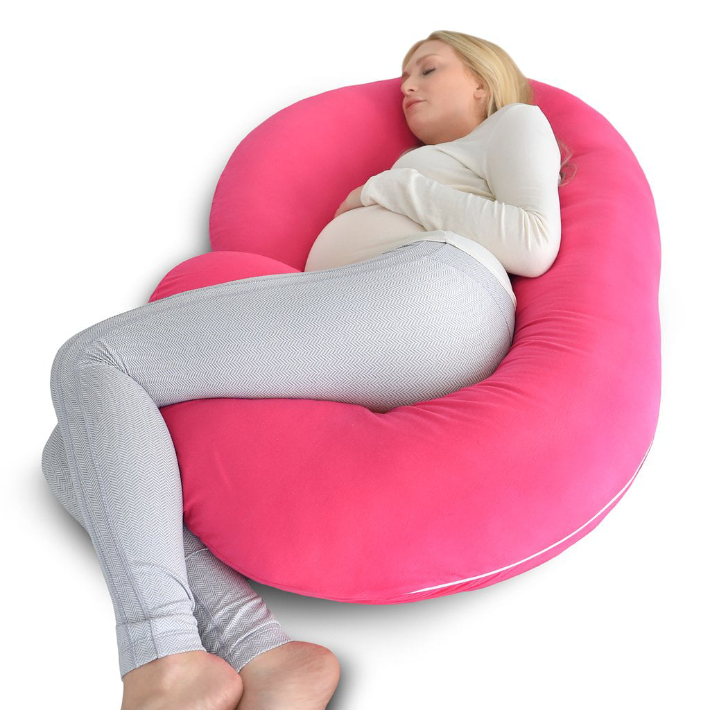 PharMeDoc Pregnancy Pillow with Pink Jersey Cover C Shaped Full Body Pillow