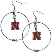 Nebraska Cornhuskers 2 Inch Hoop Earrings (F)