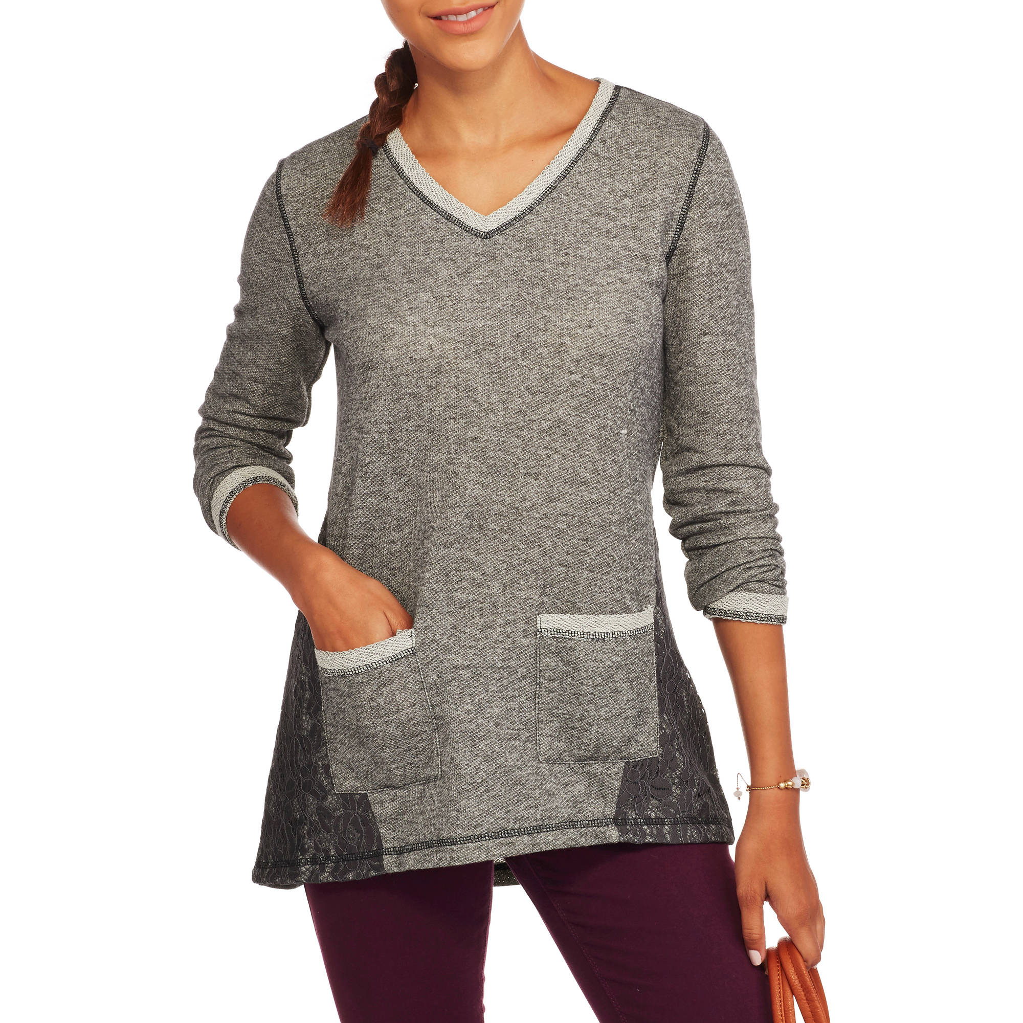 French Laundry Women's French Terry Tunic with Lace Overlay
