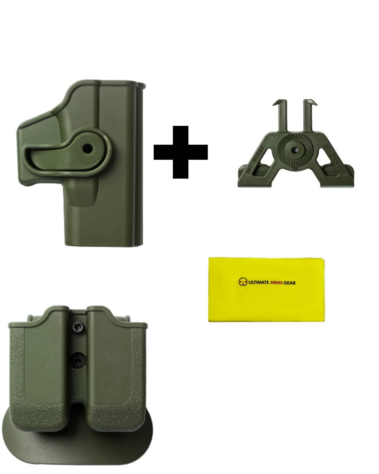 IMI Defense Z2000 MP00 Double Mag Holder & Paddle + Z1040 360� Rotate Holster Glock 23 26 27 28 33 36 Gen 4, OD Green +... by