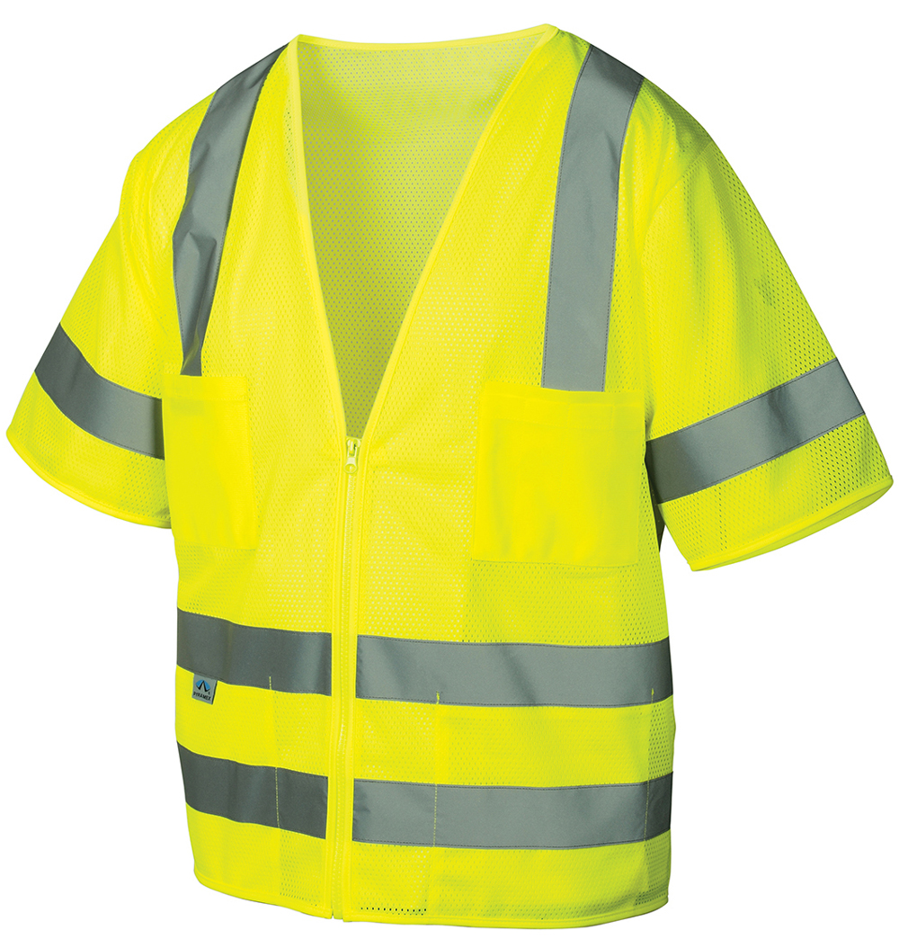 Pyramex Class 3 Hi-Vis Mesh Lime Safety Vests with Silver Stripes - Size 4X Large