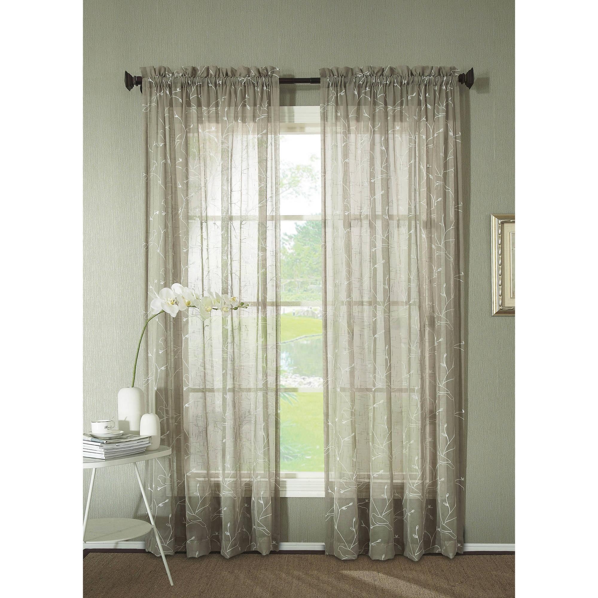 Ideal Better Homes and Gardens Sheer Trellis Curtain Panel, Green  QQ56