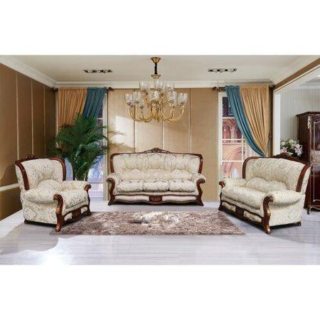 Astoria Grand Vernonburg 3 Piece Gold And White Embossed Fabric Standard Living Room Set
