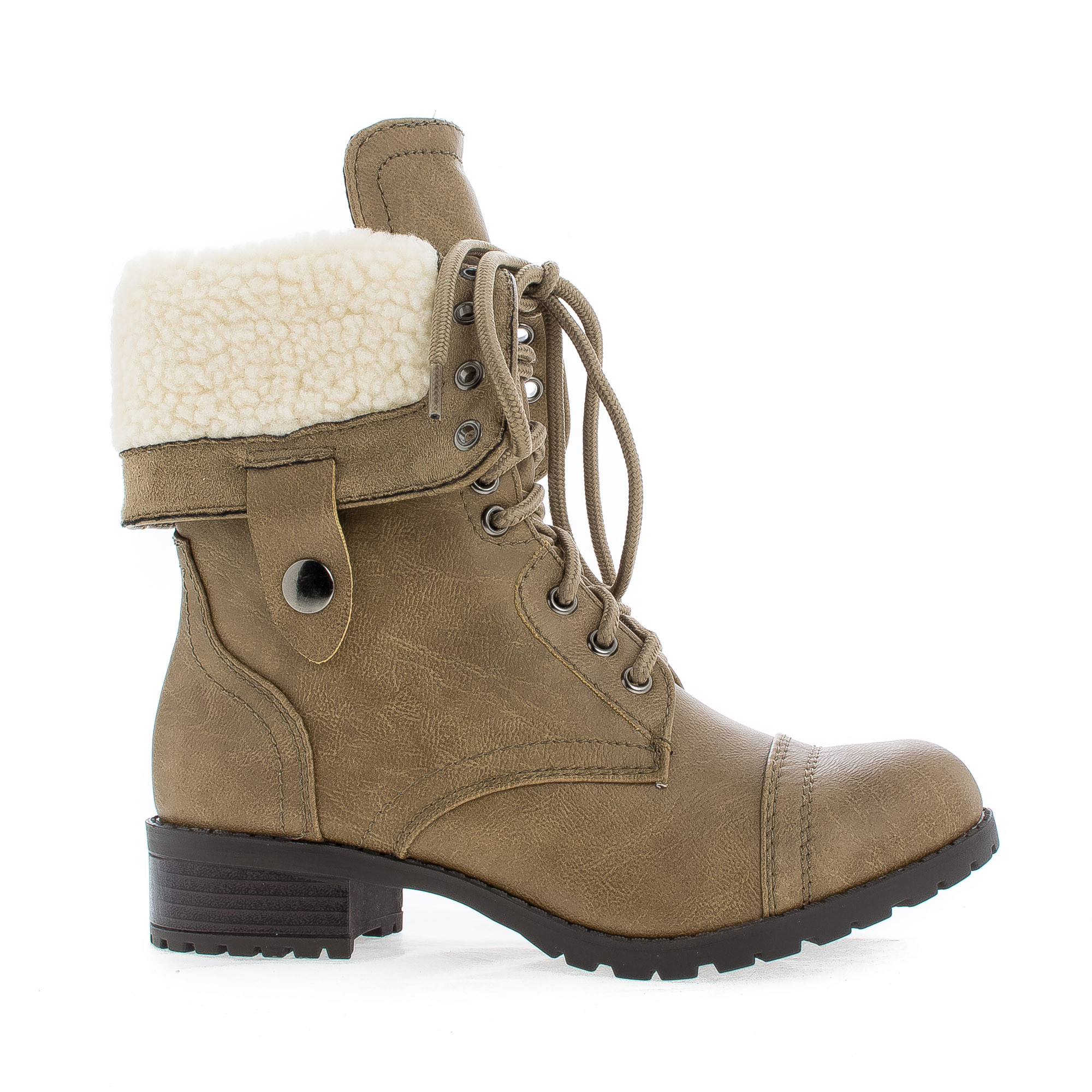 Oral by Soda, Round Toe Foldable Shaft Faux Shearling Mil...