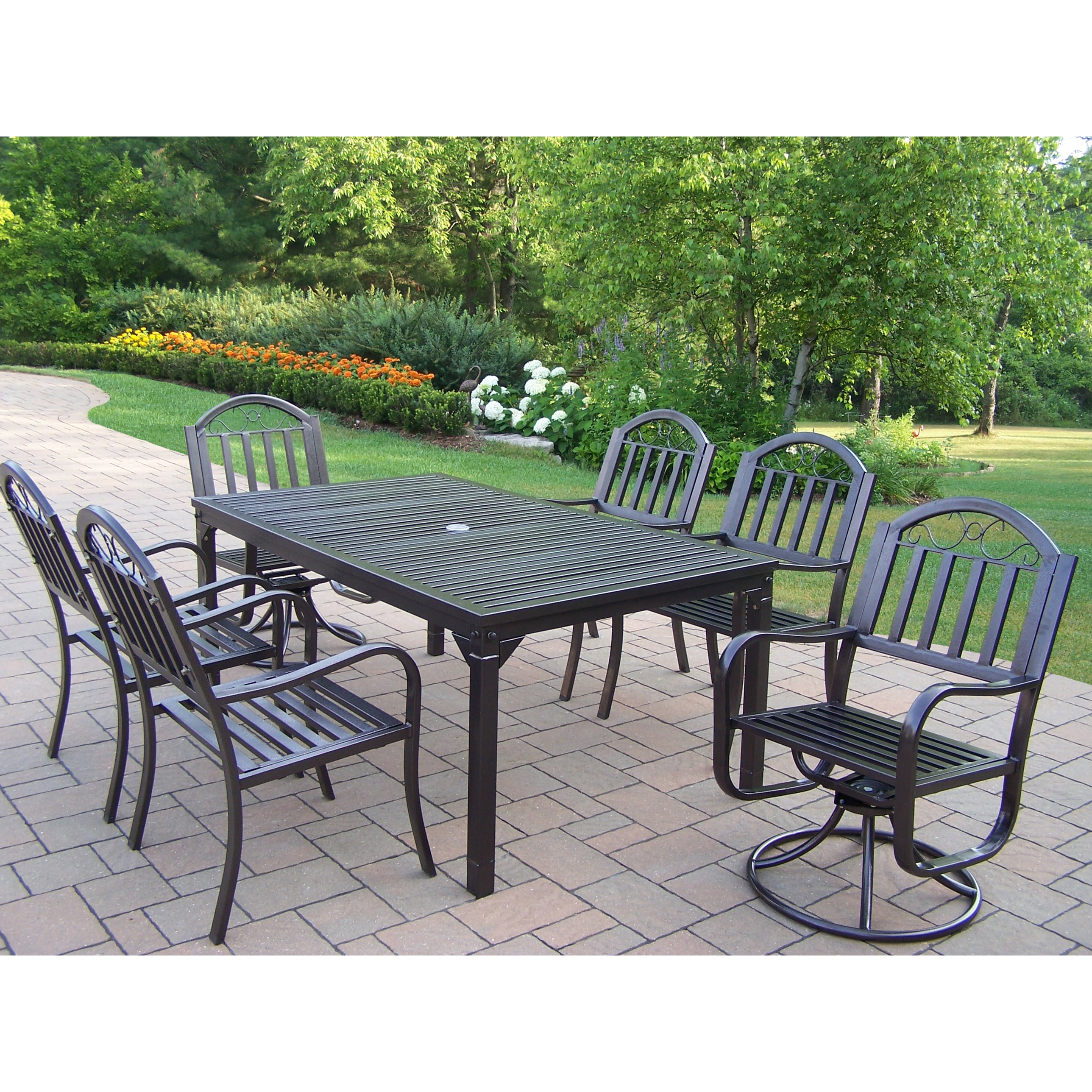 Oakland Living Corporation 7 Pc Dining Set with Rectangle Table, 4 Chairs and 2 Swivel Chairs