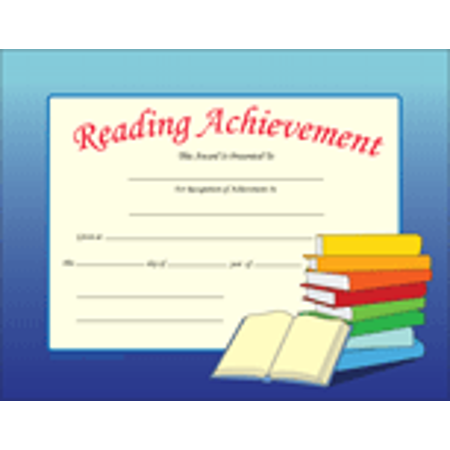 Recognition Certificate - Reading Achievement Reading Achievement Certificate