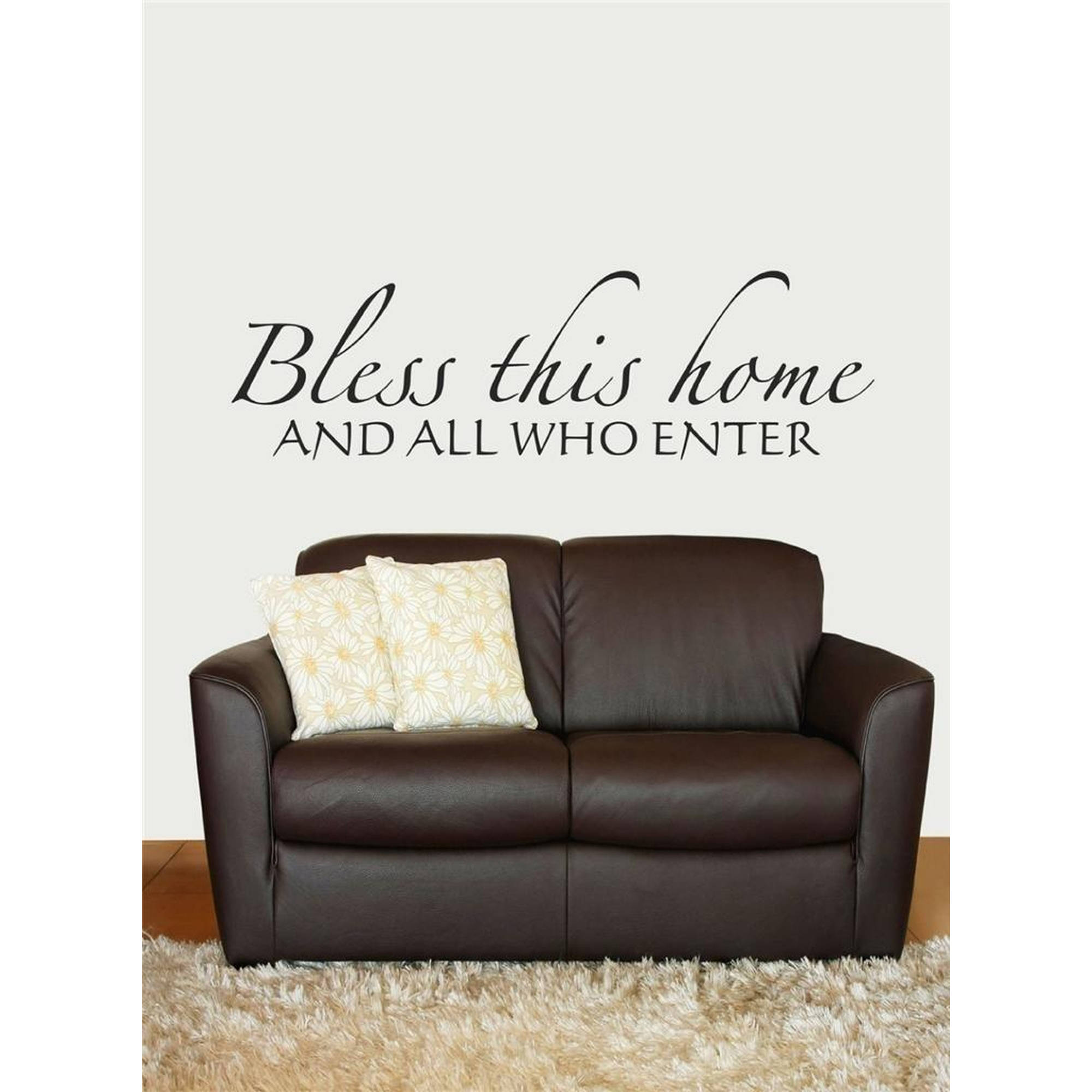 """Bless This Home And All Who Enter Living Room Vinyl Wall Decal, 6"""" x 20"""", Black"""