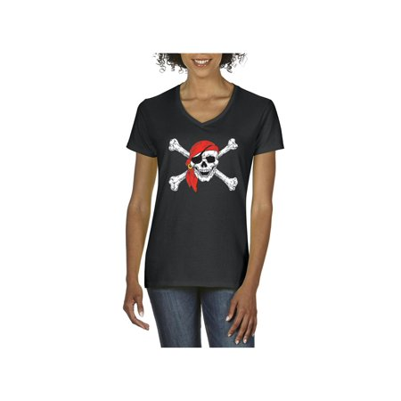 Pirates Jolly Roger Skull Crossbones Women V-Neck T-Shirt](Pirate Clothes For Women)