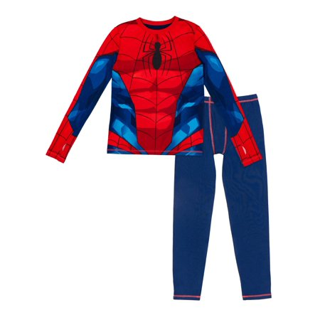 Spiderman Thermal Underwear Poly Spandex Top and Pant Set, (Little Boys & Big Boys)