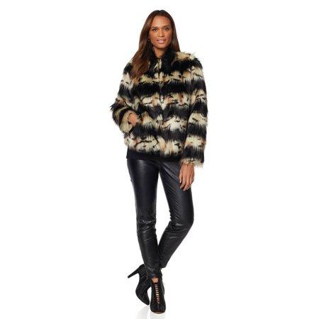 ADRIANNE LANDAU CHUBBY Faux Fur Womens Jacket Coat WILD LEOPARD Large thumbnail