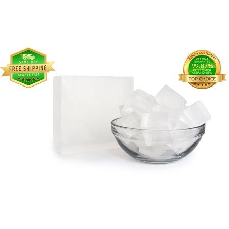 100% ORGANIC ULTRA CLEAR TRANSPARENT GLYCERIN Soap Base by Velona | Melt & Pour all Natural Bar For The Best Result | Size: 2