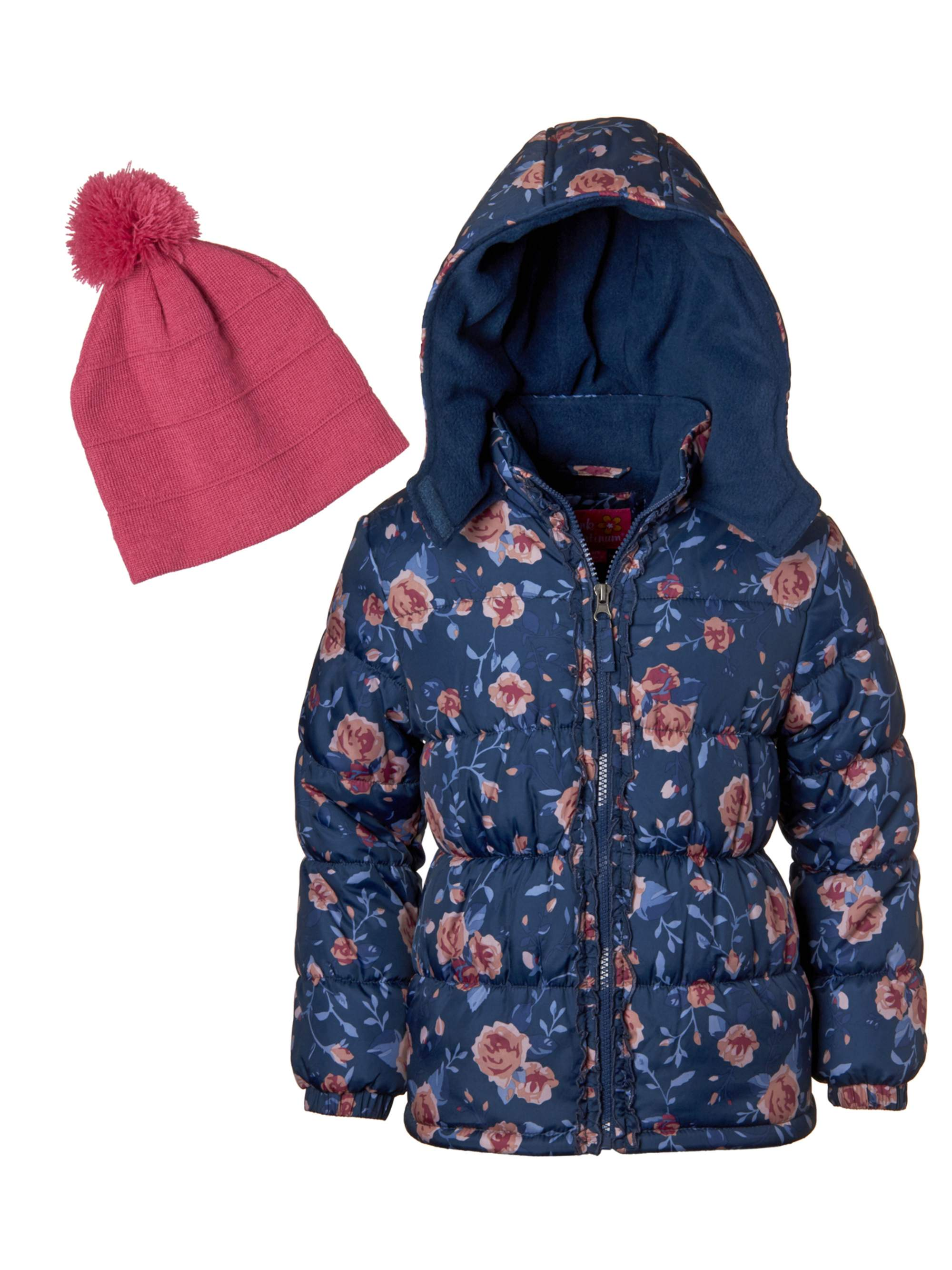 Floral Printed Puffer Jacket with GWP Beanie Hat (Little Girls & Big Girls)