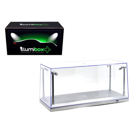 Collectible Display Show Case with LED Lights for 1/18 1/24 Models with Silver Base by Illumibox