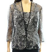 Alex Evenings NEW Women's Large L Black Silver Embroidered Jacket Set $146
