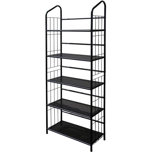 Metal Grid 5-Shelf Open Bookcase, Black