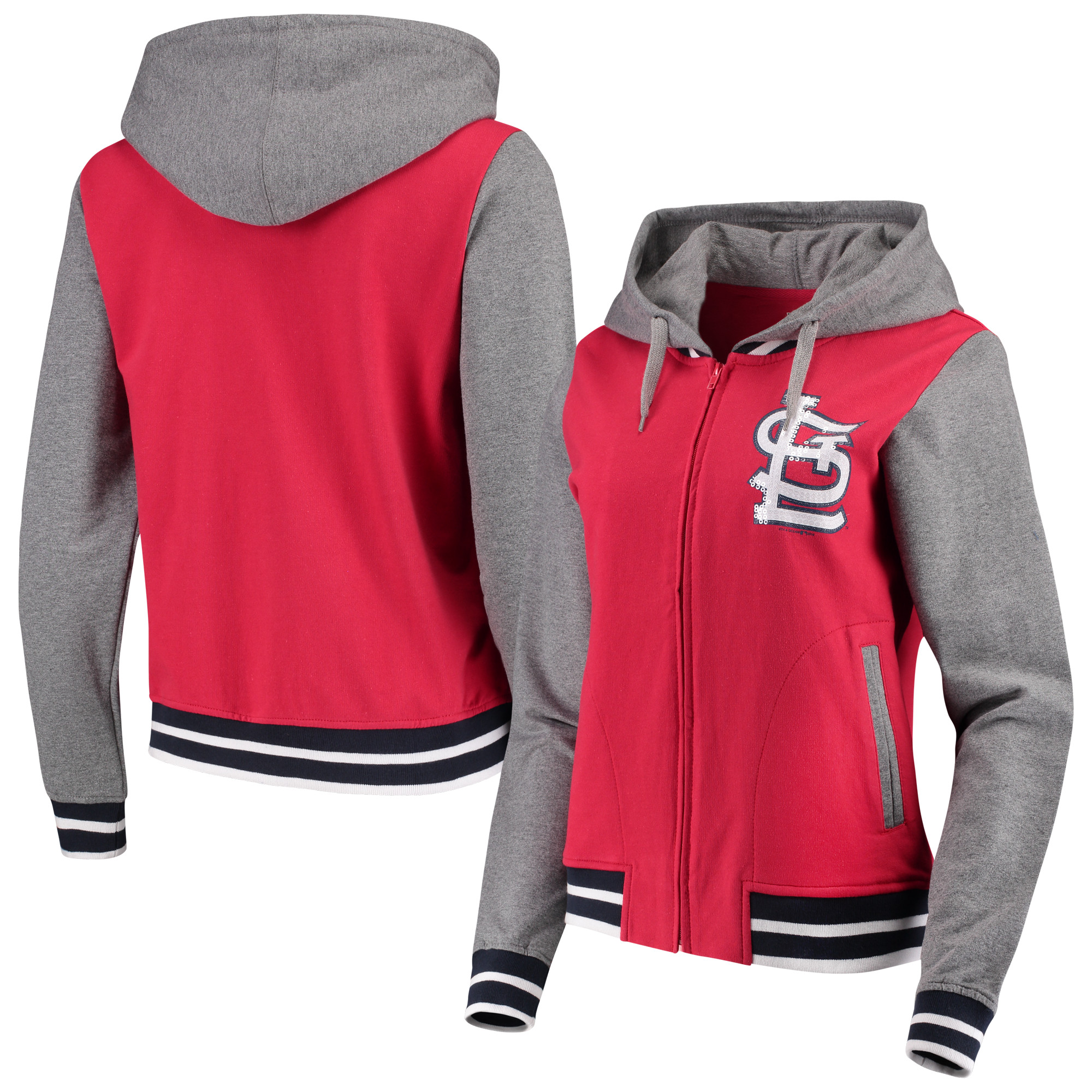 St. Louis Cardinals 5th & Ocean by New Era Women's French Terry Full-Zip Hoodie - Red