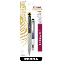 Zebra StylusPen Telescopic Ballpoint Pen, Medium Point, 1.0mm, Black Ink, Grey and Navy Barrels, 2-Count