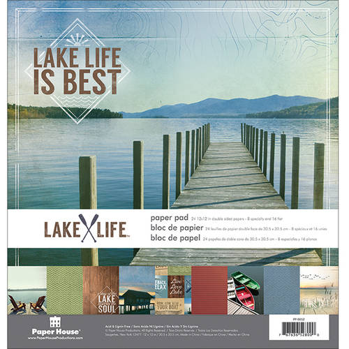 "Paper House Double-Sided Paper Pad, 12"" x 12"", 24pk, Lake Life"