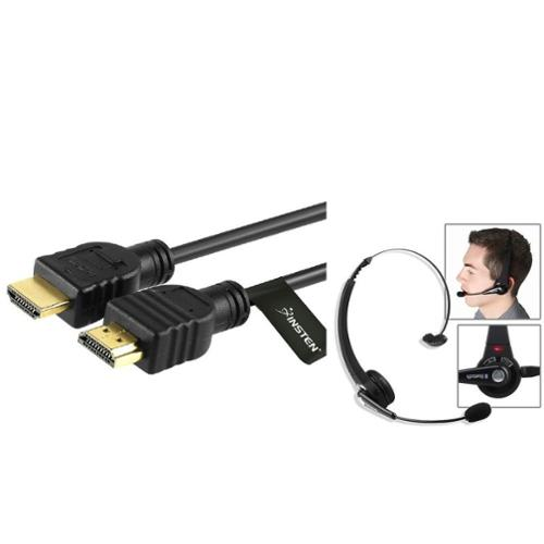 Insten Bluetooth Wireless Headset Gaming  + 3' HDMI CABLE For SONY PS3