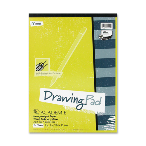 Mead Drawing Pad, Heavy Weight, 12''x18'', 24 Sheets White