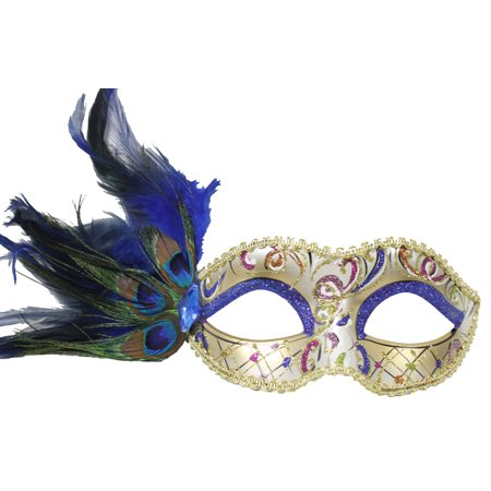 FANCY MASQUERADE MASK - Venetian - PEACOCK FEATHERS (Black And Green Masquerade Mask)