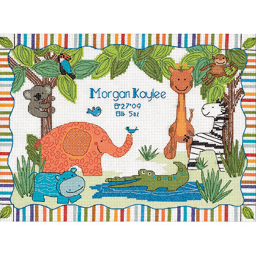 "Dimensions Baby Hugs ""Mod Zoo"" Birth Record Counted Cross Stitch Kit, 14ct, 12"" x 9"""