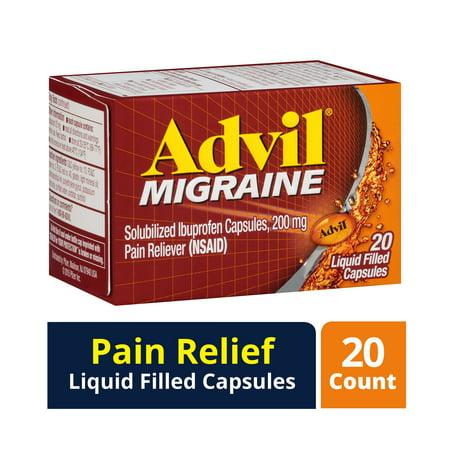 Advil Migrain 20'S Size 20ct Advil Migraine Pain Relief Liquid Filled Capsules