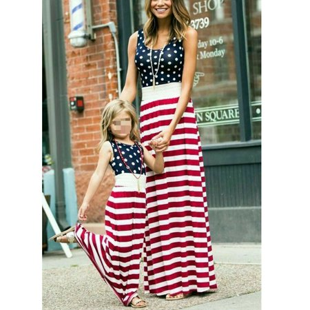 Mother Daughter Matching Clothes Mom Kids Girl Long Boho Dress