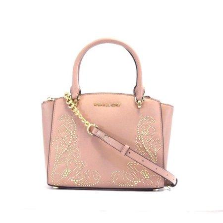 NEW WOMENS MICHAEL KORS FAWN STUDDED ELLIS SMALL CONVERTIBLE SATCHEL HAND BAG Convertible Satchel Handbags