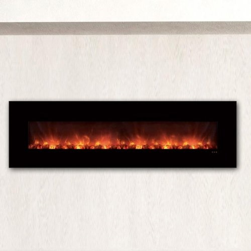 Modern Flames CLX Series Wall Mount/Built-in Electric Fireplace with Black Glass Front, 100-Inch